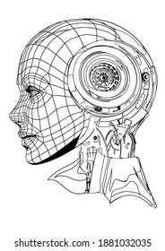 an outline sketch of a robot of the future with a human face