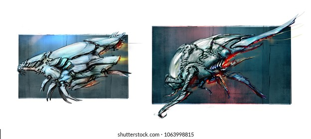 Outline of spaceships, concepts. Digital painting. The drawings are isolated on a white background. Aircraft. Warships of invaders. Illustrations for the poster, wallpaper, game. Aliens.