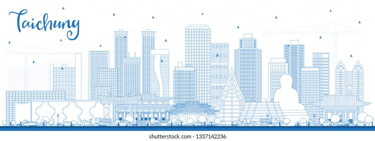 Outline Taichung Taiwan City Skyline with Blue Buildings. Business Travel and Tourism Concept with Historic Architecture. Taichung China Cityscape with Landmarks.