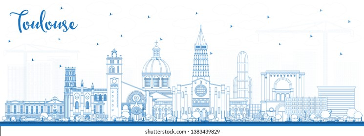 Outline Toulouse France City Skyline with Blue Buildings. Business Travel and Concept with Historic Architecture. Toulouse Cityscape with Landmarks.