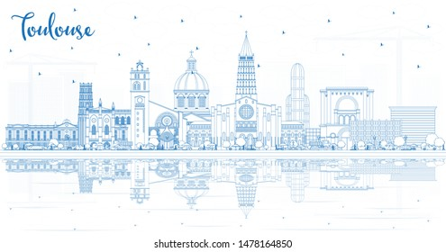 Outline Toulouse France City Skyline with Blue Buildings and Reflections. Business Travel and Concept with Historic Architecture. Toulouse Cityscape with Landmarks.