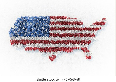 The outline of US formed by people dressed in red, blue and white - 3D illustration