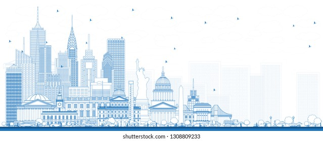Outline USA Skyline with Blue Buildings. Famous Landmarks in USA. Travel and Tourism Concept with Historic Architecture. USA Cityscape with Landmarks.