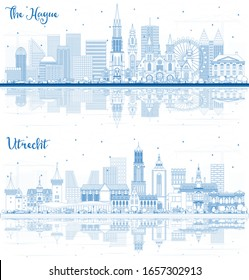 Outline Utrecht and The Hague Netherlands City Skylines with Blue Buildings and Reflections. Business Travel and Tourism Concept with Historic Architecture. Cityscapes with Landmarks.