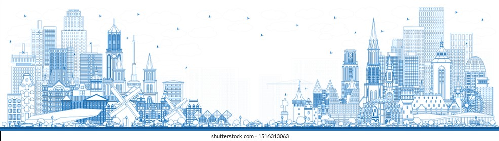 Outline Welcome to Netherlands Skyline with Blue Buildings. Tourism Concept with Historic Architecture. Netherlands Cityscape with Landmarks. Amsterdam. Rotterdam. The Hague. Utrecht.