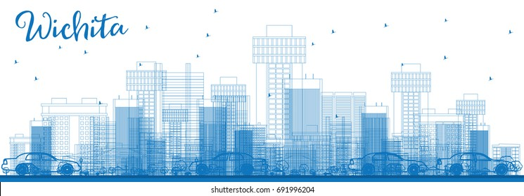 Outline Wichita Skyline with Blue Buildings. Business Travel and Tourism Concept with Modern Architecture. Image for Presentation Banner Placard and Web Site.