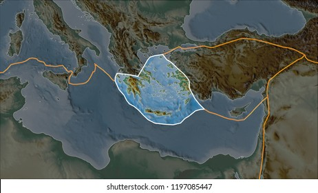 Outlined Aegean Sea tectonic plate on the relief map separated by desaturation of its adjacent areas. Van der Grinten I projection (oblique transformation)
