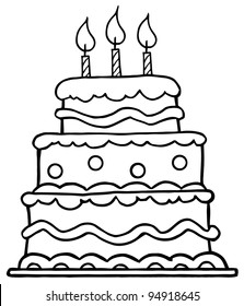 Marvelous Birthday Cake Outline Images Stock Photos Vectors Shutterstock Birthday Cards Printable Trancafe Filternl