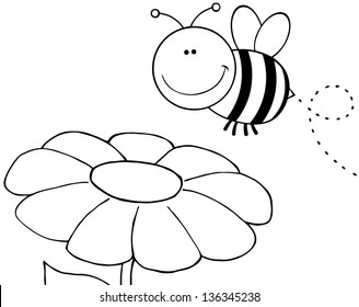 Outlined Bumble Bee Flying Over Flower. Raster Illustration.Vector Version Also Available In Portfolio.