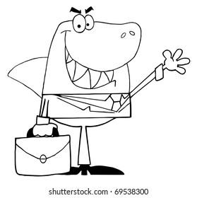 Outlined Business Shark Waving A Greeting