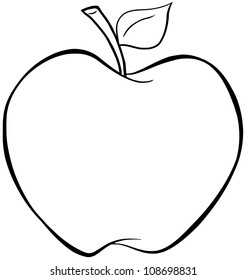 Outlined Cartoon Apple. Raster Illustration.Vector version also available in portfolio.