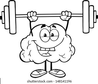 Outlined Happy Brain Character Lifting Weights. Vector version also available in gallery