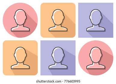 Outlined icon of  male user picture with parallel and not parallel  long shadows