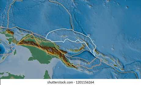 Outlined North Bismarck tectonic plate and borders of adjacent plates on the relief map in the van der Grinten I projection (oblique transformation). 3D illustration