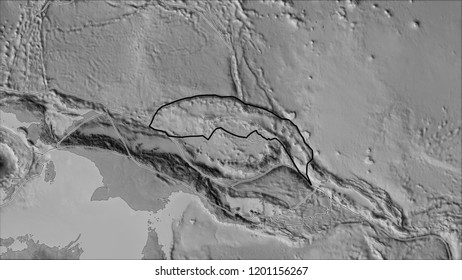 Outlined North Bismarck tectonic plate and borders of adjacent plates on the grayscale map in the van der Grinten I projection (oblique transformation). 3D illustration