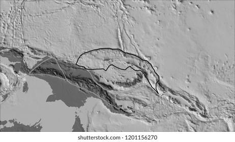 Outlined North Bismarck tectonic plate and borders of adjacent plates on the bilevel elevation map in the van der Grinten I projection (oblique transformation). 3D illustration