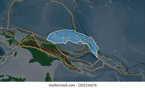 Outlined North Bismarck tectonic plate on the physical map separated by desaturation of its adjacent areas. Van der Grinten I projection (oblique transformation). 3D illustration