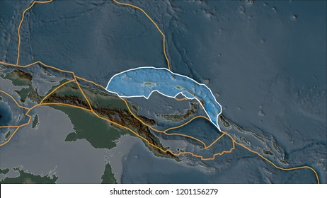 Outlined North Bismarck tectonic plate on the relief map separated by desaturation of its adjacent areas. Van der Grinten I projection (oblique transformation). 3D illustration
