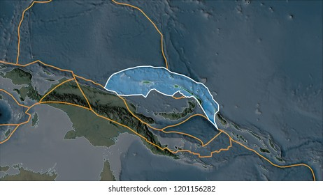 Outlined North Bismarck tectonic plate on the topographic map separated by desaturation of its adjacent areas. Van der Grinten I projection (oblique transformation). 3D illustration
