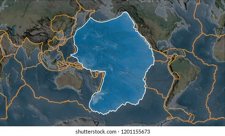Outlined Pacific tectonic plate on the topographic map separated by desaturation of its adjacent areas. Van der Grinten I projection (oblique transformation). 3D illustration