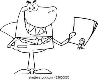 Outlined Shark Businessman Holding A Bad Contract In His Hand