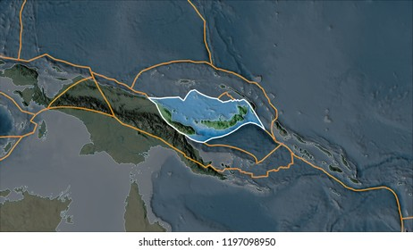 Outlined South Bismarck tectonic plate on the topographic map separated by desaturation of its adjacent areas. Van der Grinten I projection (oblique transformation)