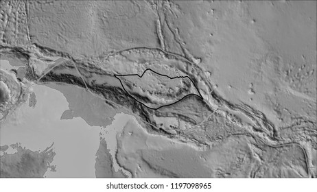 Outlined South Bismarck tectonic plate and borders of adjacent plates on the grayscale map in the van der Grinten I projection (oblique transformation)
