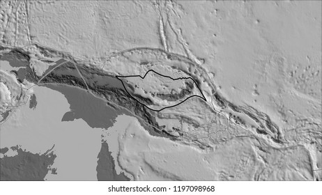 Outlined South Bismarck tectonic plate and borders of adjacent plates on the bilevel elevation map in the van der Grinten I projection (oblique transformation)