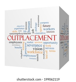 Outplacement 3D cube Word Cloud Concept with great terms such as company, job, workers and more.