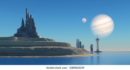 Outpost on Ganymede 3D illustration - Ganymede is the largest moon of the planet Jupiter in our Solar System and a port colony may be built on it in the future.