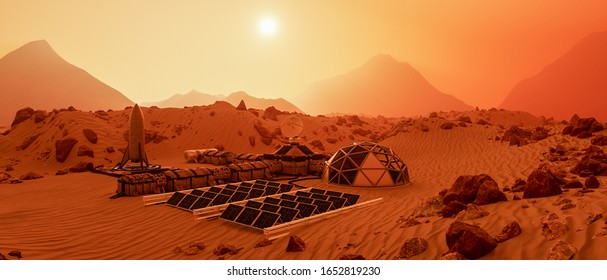 an outpost on the red planet mars (3d rendering)