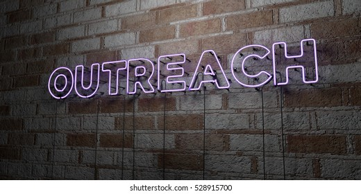 OUTREACH - Glowing Neon Sign on stonework wall - 3D rendered royalty free stock illustration.  Can be used for online banner ads and direct mailers.