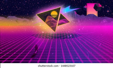 Outrun/Synthwave Illustration from 80s inspired by old VHS covers/Math books