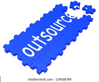 Outsource Puzzle Showing Subcontract, Employment And Freelance