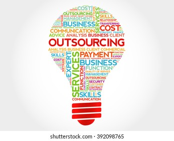 Outsourcing bulb word cloud, business concept