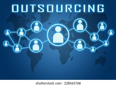 Outsourcing concept on blue background with world map and social icons.