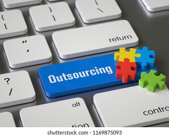 outsourcing key on the keyboard, 3d rendering,conceptual image