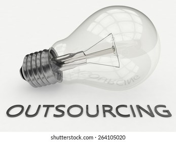 Outsourcing - lightbulb on white background with text under it. 3d render illustration.