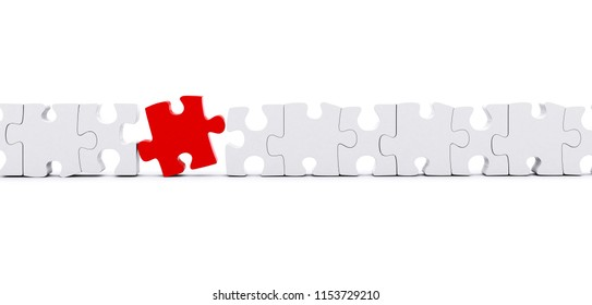 Outstanding red piece in a line puzzle isolated 3D illustration, 3D rendering.
