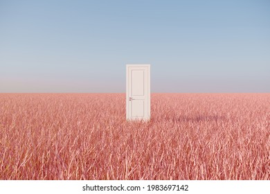 Outstanding White door on pink grass filed landscape with sky background. Minimal idea concept. 3D Render.