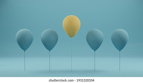 Outstanding yellow balloon among blue balloon on blue background. Concept of different and stand out from the crowd. 3D rendering