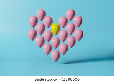 Outstanding yellow balloon among pink balloon of heart shape on blue background. 3D rendering minimalism concept.