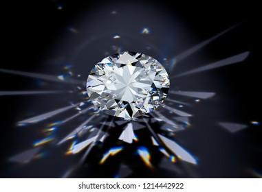 Oval cut diamond with caustics rays on black background. 3D illustration