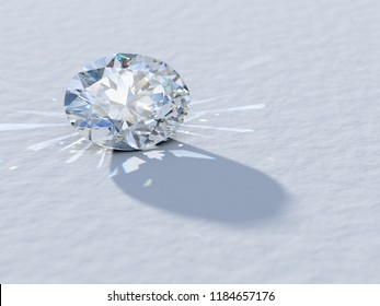 Oval cut diamond close-up on white background, rear light, caustics rays. 3D illustration