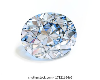 Oval cut diamond drawing on white background. 3d illustration