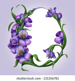 oval egg shaped frame with beautiful lilac spring flowers