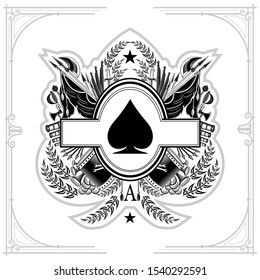Oval frame in center of vintage weapon and military elements inside of ace of spades form. Military design playing card element black on white