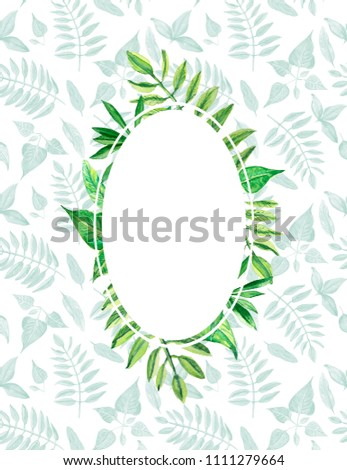 2d9e1d17b61a Oval Frame Green Leaves Greeting Card Stock Illustration - Royalty ...