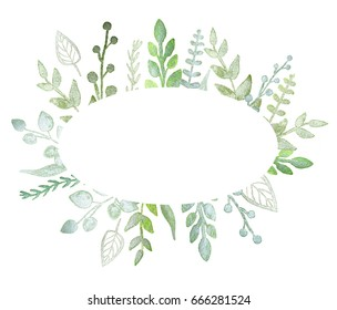 Oval frame with pearl green branches and leaves. Greeting, invitation card, cover of notebook
