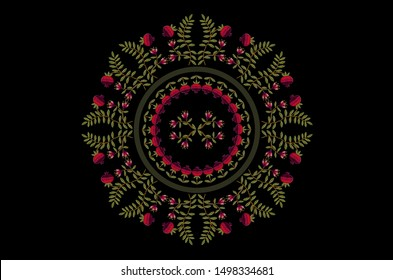 Oval pattern for embroidery satin stitch wreath with flowers and fruits of red pomegranates on curved branches with green leaves on a black background